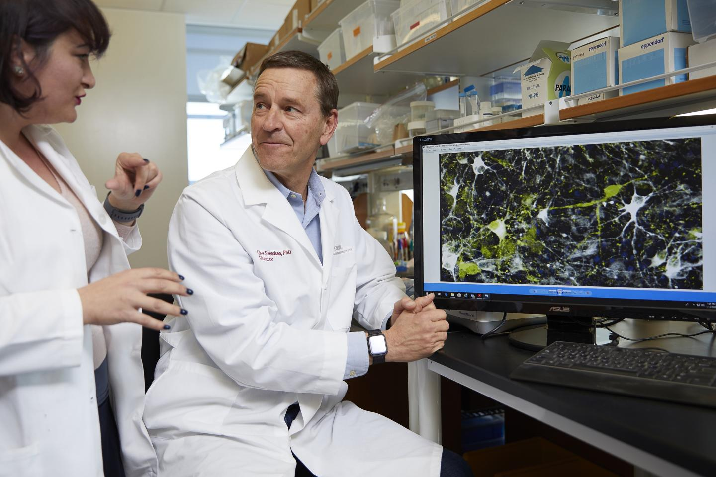 Clive Svendsen, PhD, director of the Cedars-Sinai Board of Governors Regenerative Medicine Institute, right, and Nur Yucer, PhD, a project scientist, discuss a microscope image of dopamine neurons