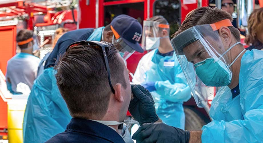 As part of the SEARCH study, San Diego fire fighters are screened for SARS-CoV-2, the virus that causes COVID-19.