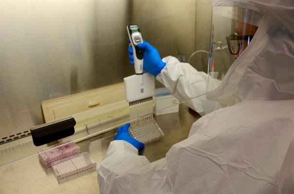 Timothy Sheahan, PhD, works in a lab at the University of North Carolina at Chapel Hill Gillings School of Global Public Health in 2017